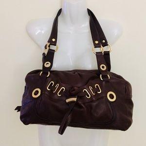 B. Makowsky Dark Burgundy/Brown Leather Handbag